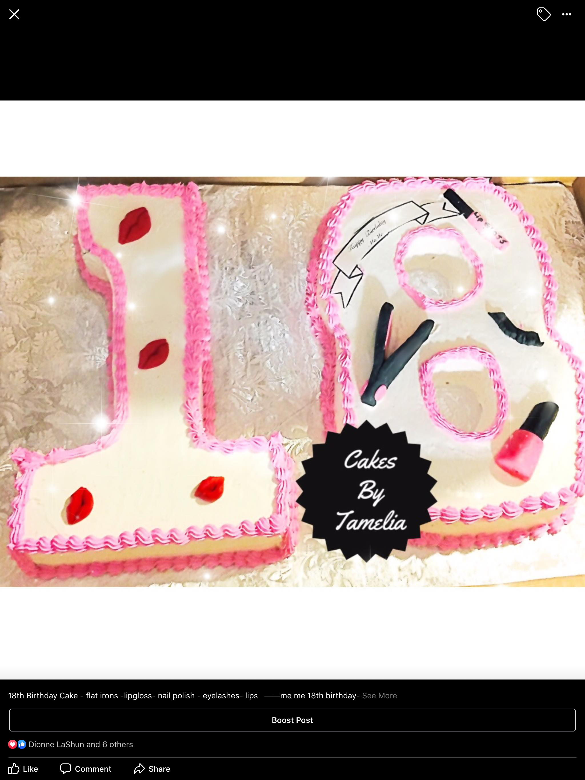 pnk and white number 18 cake