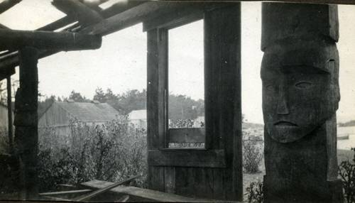House posts at First Nations Ville, Discovery Island. -1916
