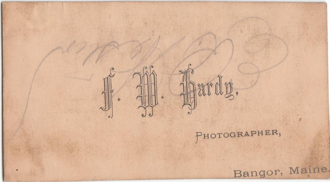 F. M. Hardy, photographer of Bangor, Maine - back