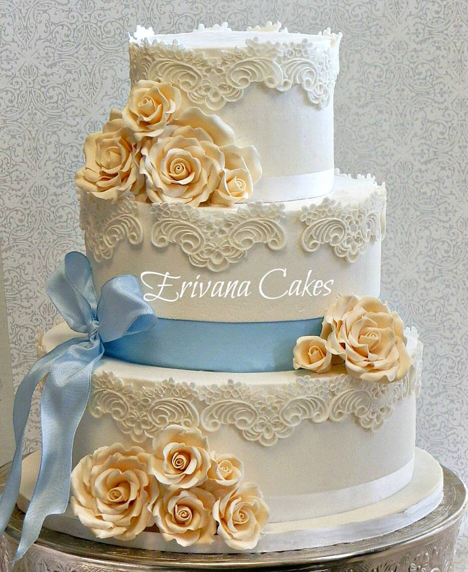 Blue and Ivory lace buttercream