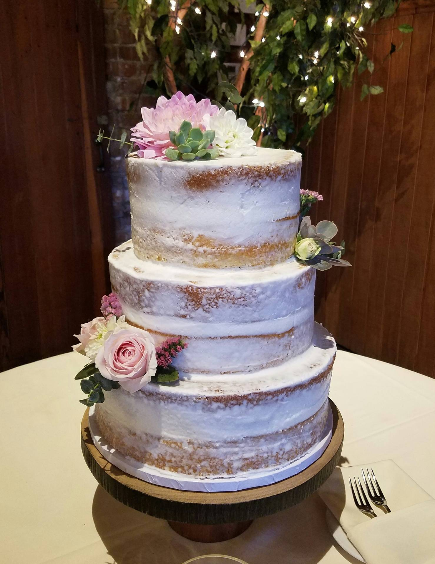 White Naked Cake with  Flowers