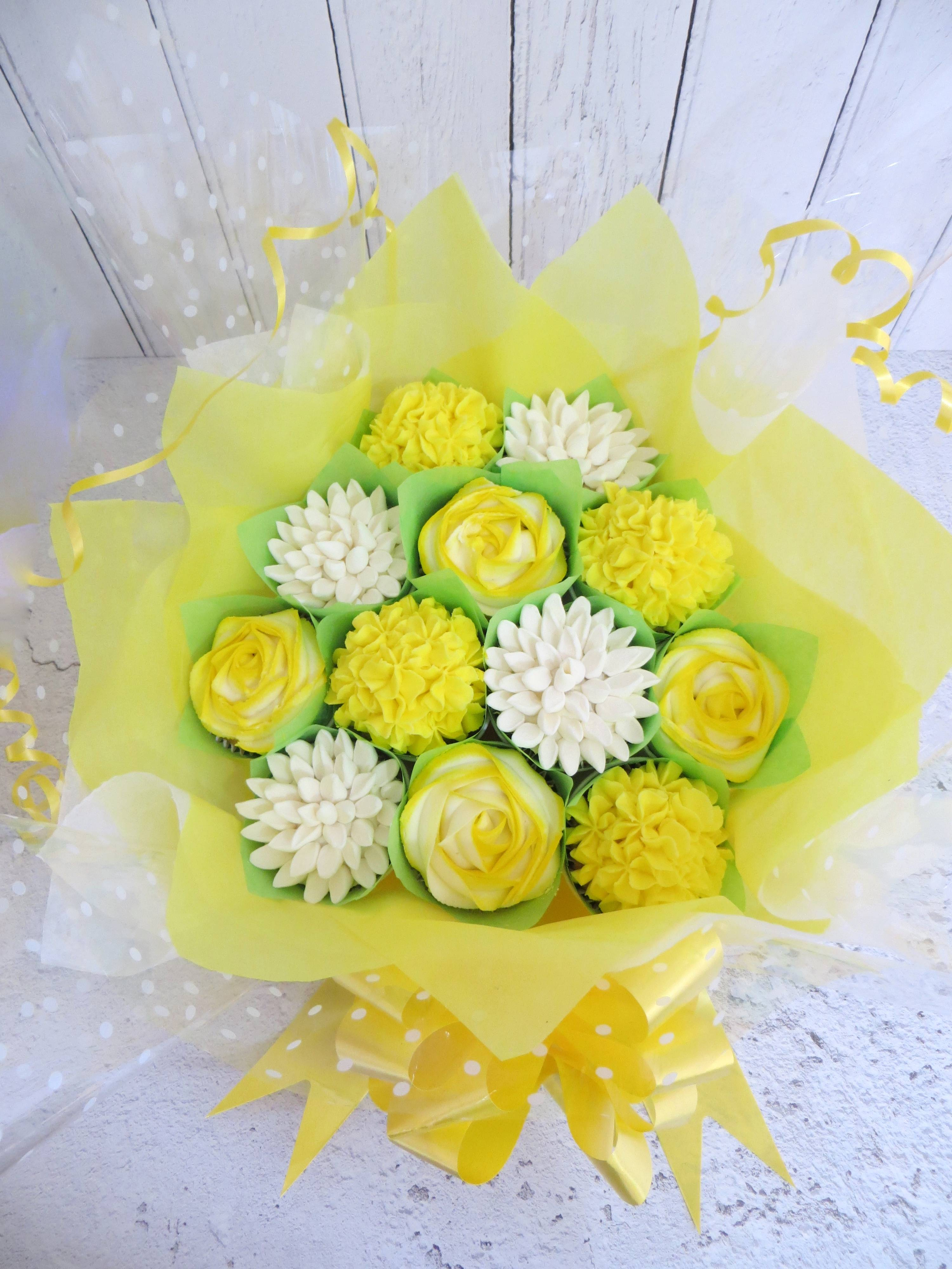 Yellow and white cupcake bouquet