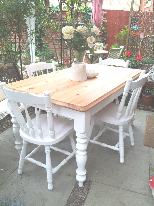 Gorgeous Solid Pine Table & 4 Chairs Stripped & Painted in Laura Ashley Pearl