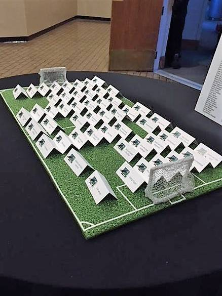 Soccer Field with reception cards