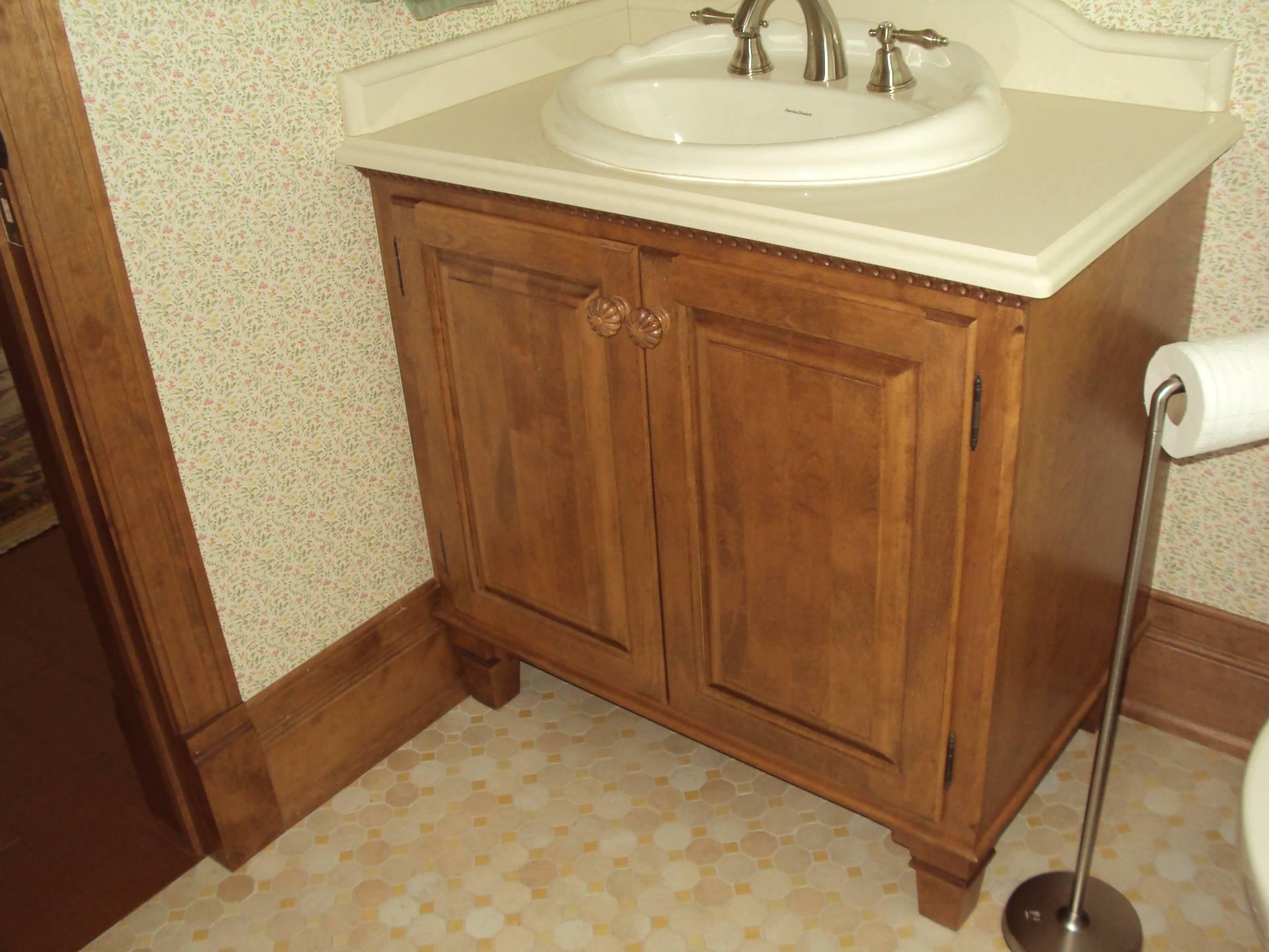 Vanité de salle de bain en bois, comptoir de quartz