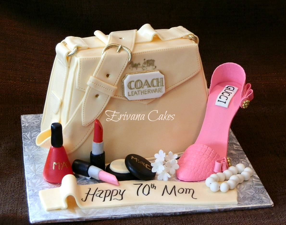 Coach Bag cake with shoe and make up kit (SP154)