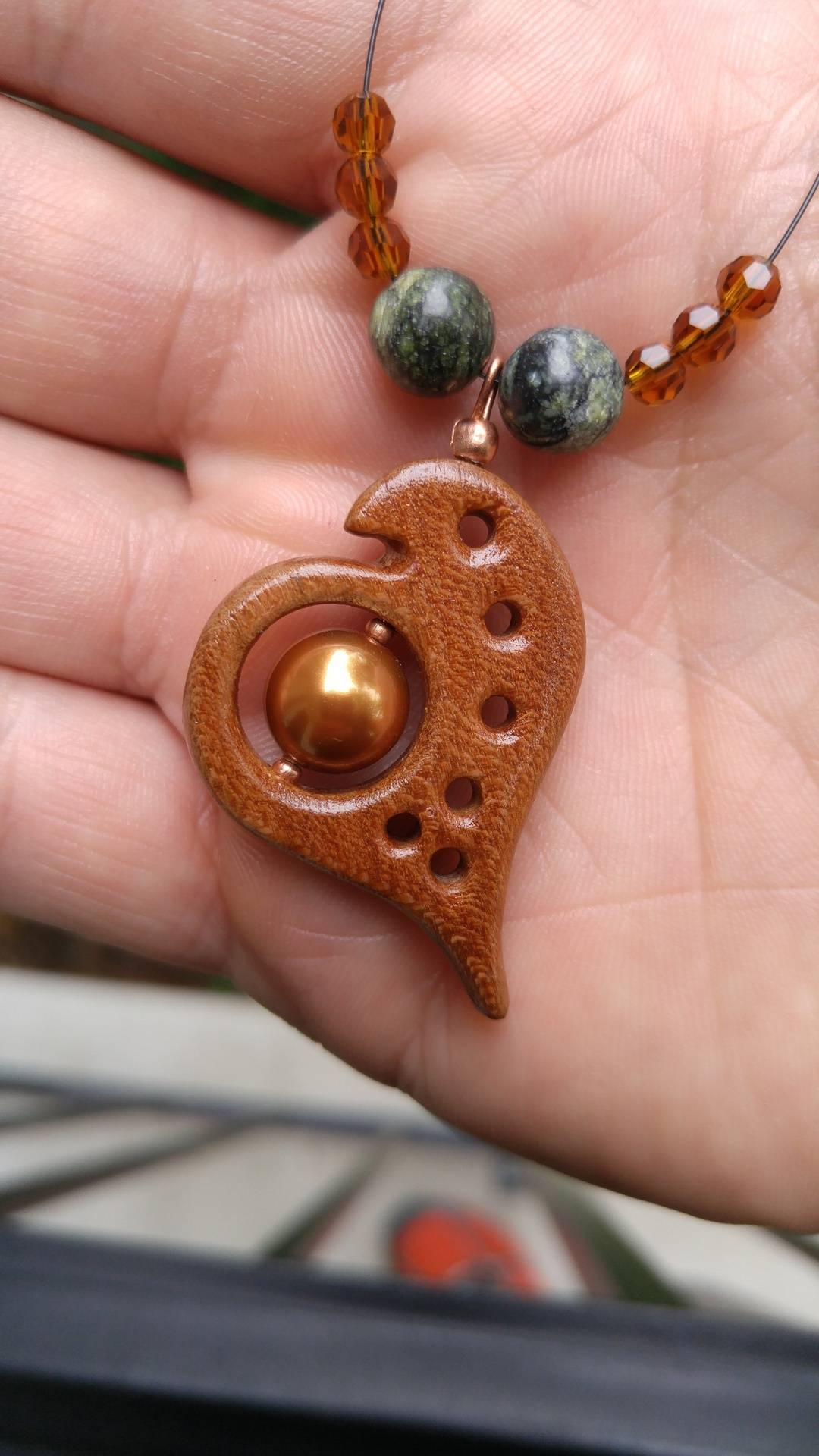 wood heart pendant
