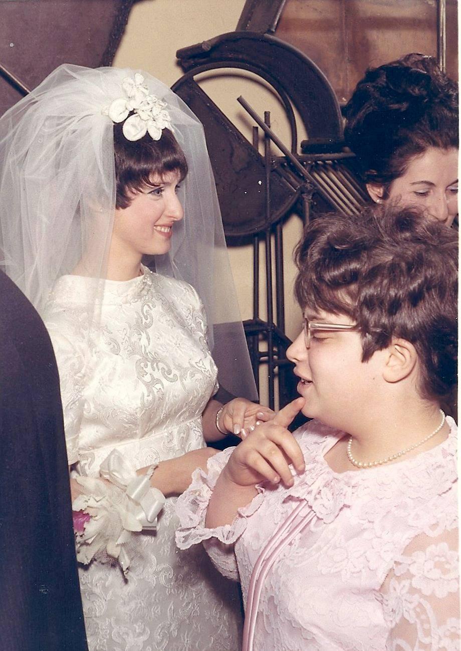 Abigail & Aimee in receiving line at wedding 3-29-69::)