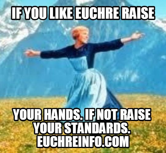 If you like Euchre, raise your hands. If not, raise your standards.