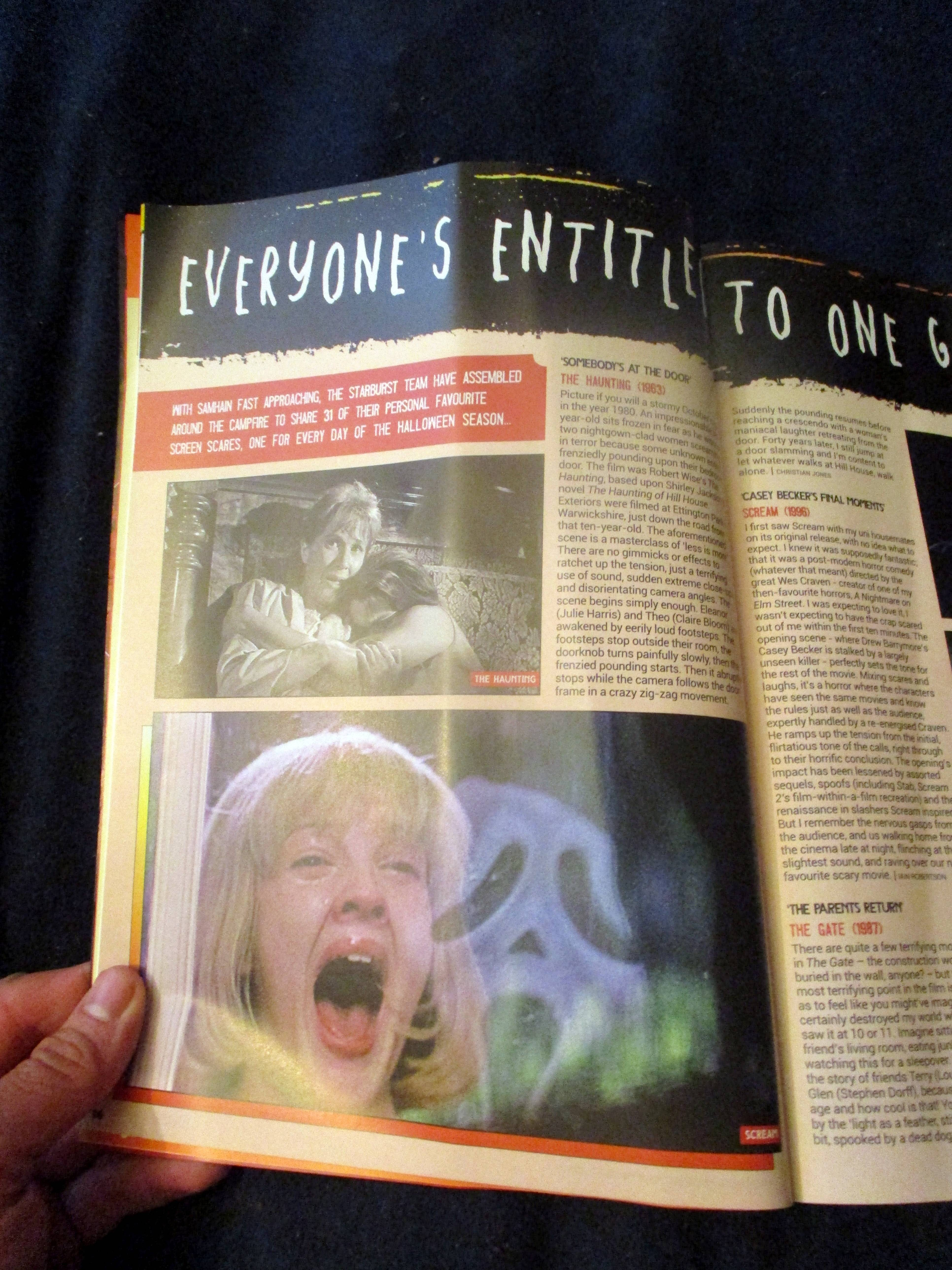 First Page of Opening Page Spread of Everyone's Entitled to One Good Scare in Starburst Magazine #474: Everyone's Entitled to One Good Scare Collectors' Edition at The Wombatorium 2.0: A Capital Idea