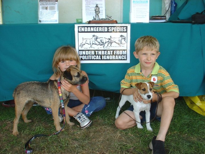 Two young terrier enthusiasts making their point