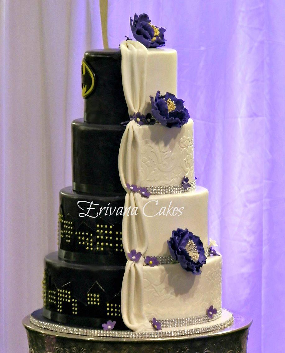 2 sided batman wedding cake
