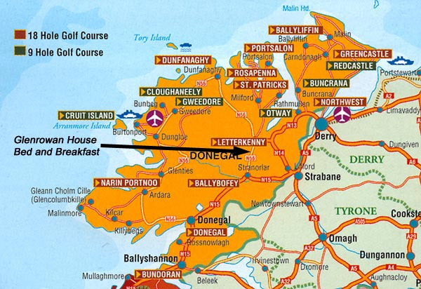 Map pf Golf Courses in Donegal
