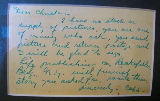 Ty Cobb SIGNED AUTO Postcard With JSA LOA