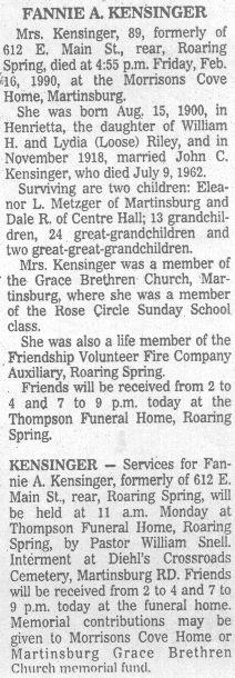 Kensinger, Fannie Riley 1990