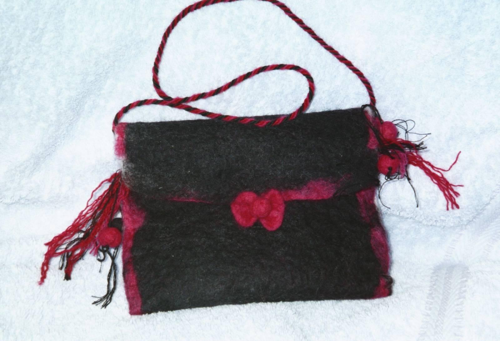 Black bag - handmade felt