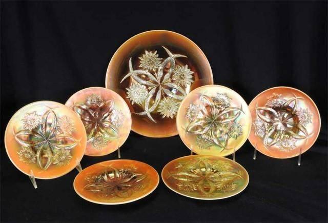 Four Flowers cake plate set, peach opal