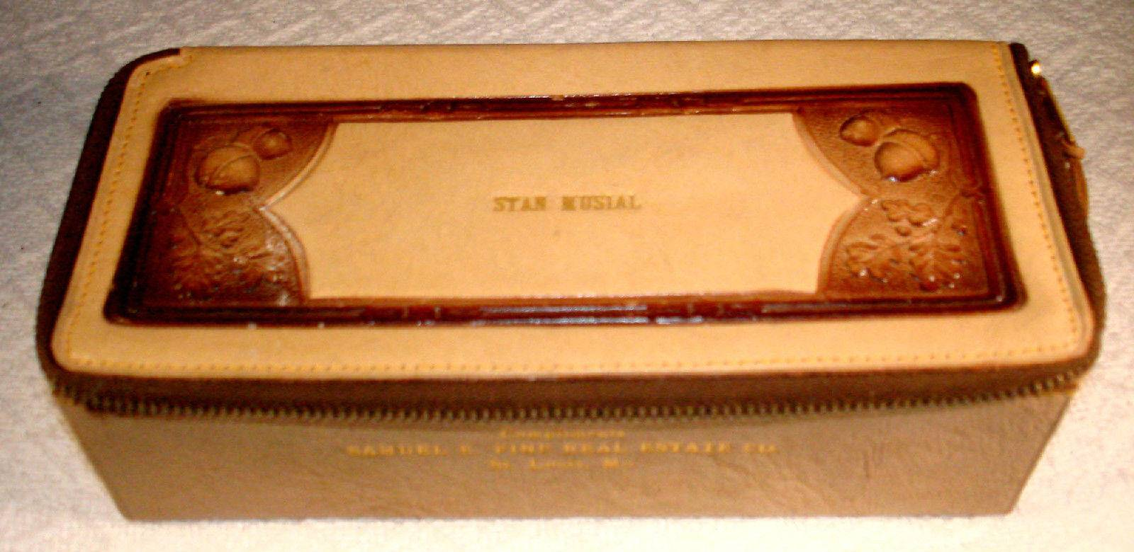 """STAN MUSIAL'S Own Leather Embossed Leather Box 7'x3""""x2"""""""
