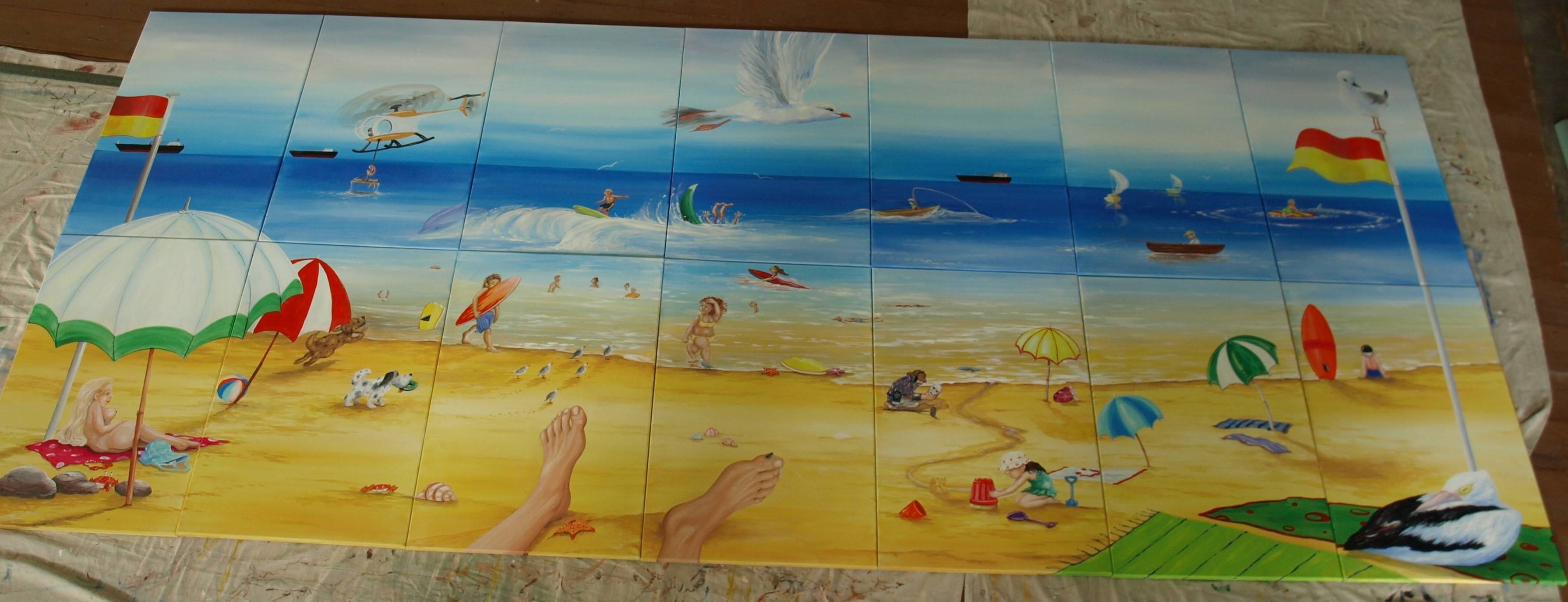 THE BEACH      14 canvases