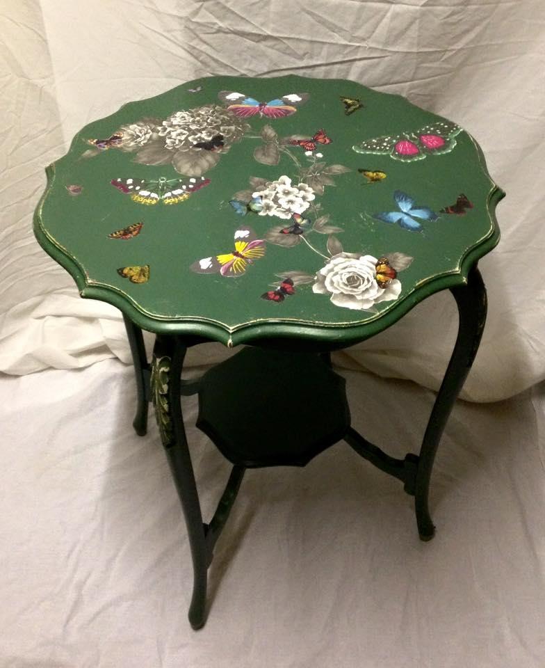 Green butterfly side table.