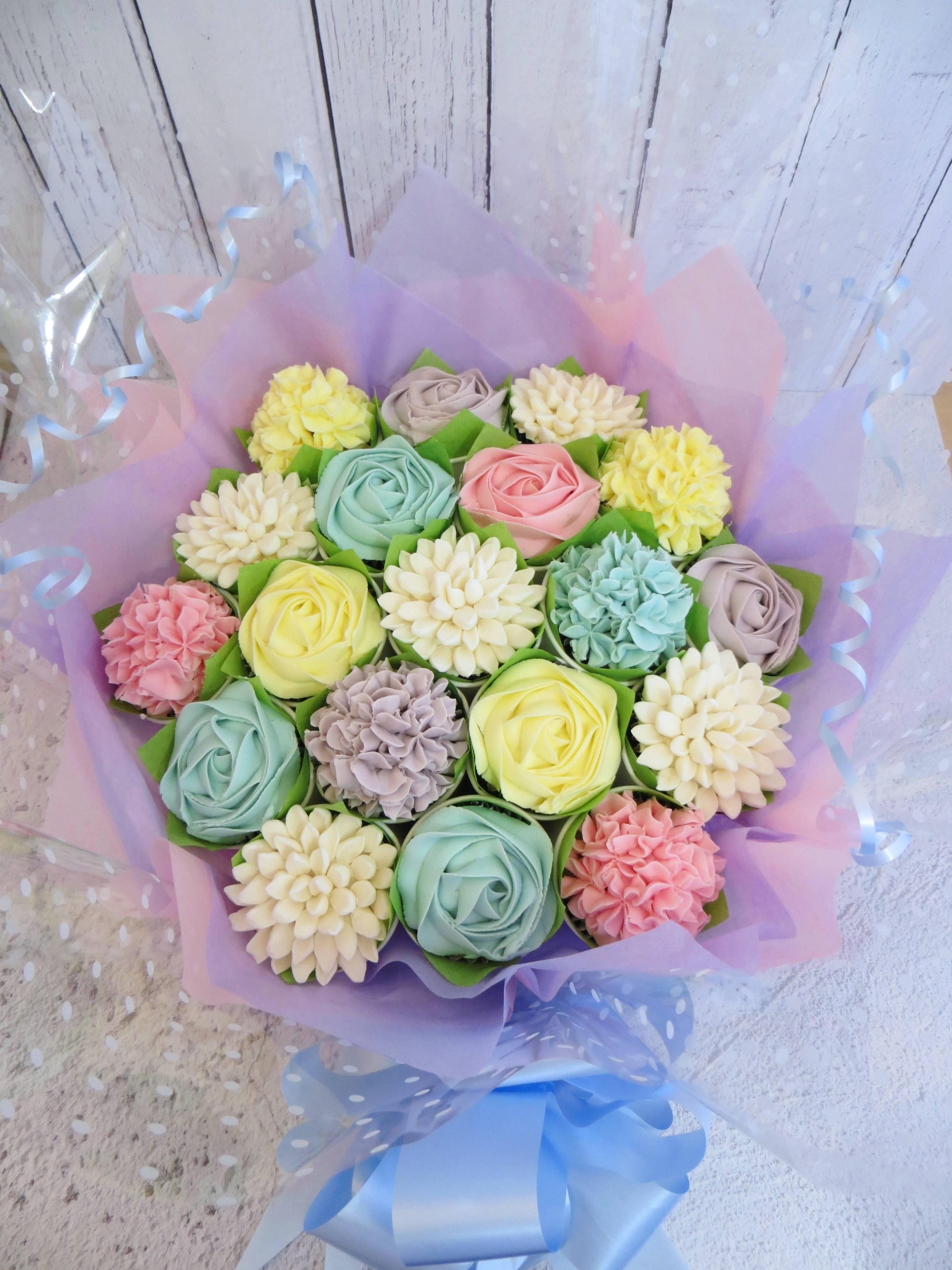 19 pastel colour cupcake bouquet