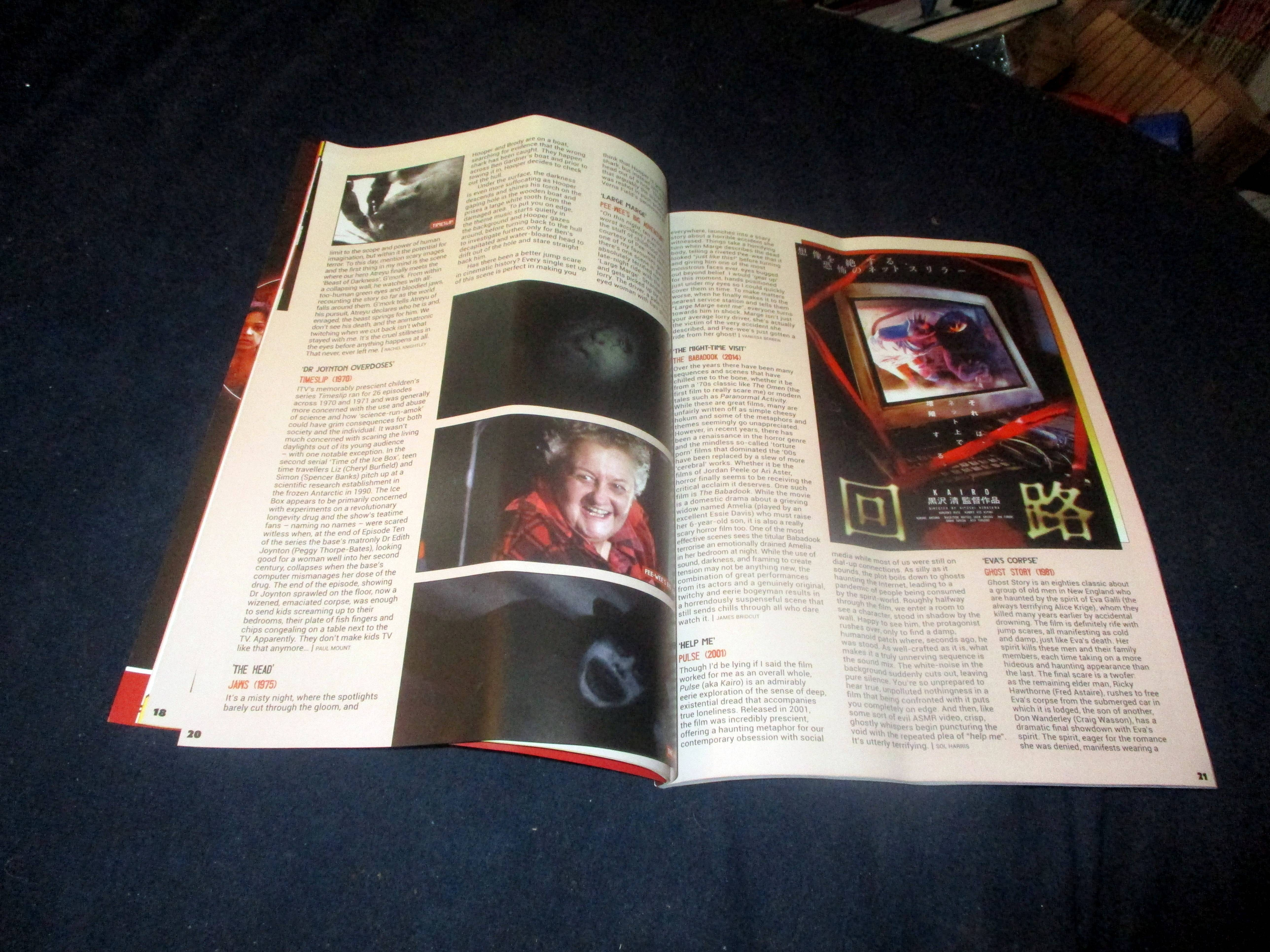 Page Spread with First Portion of Eva's Corpse in Everyone's Entitled to One Good Scare in Starburst Magazine #474: Everyone's Entitled to One Good Scare Collectors' Edition at The Wombatorium 2.0: A Capital Idea