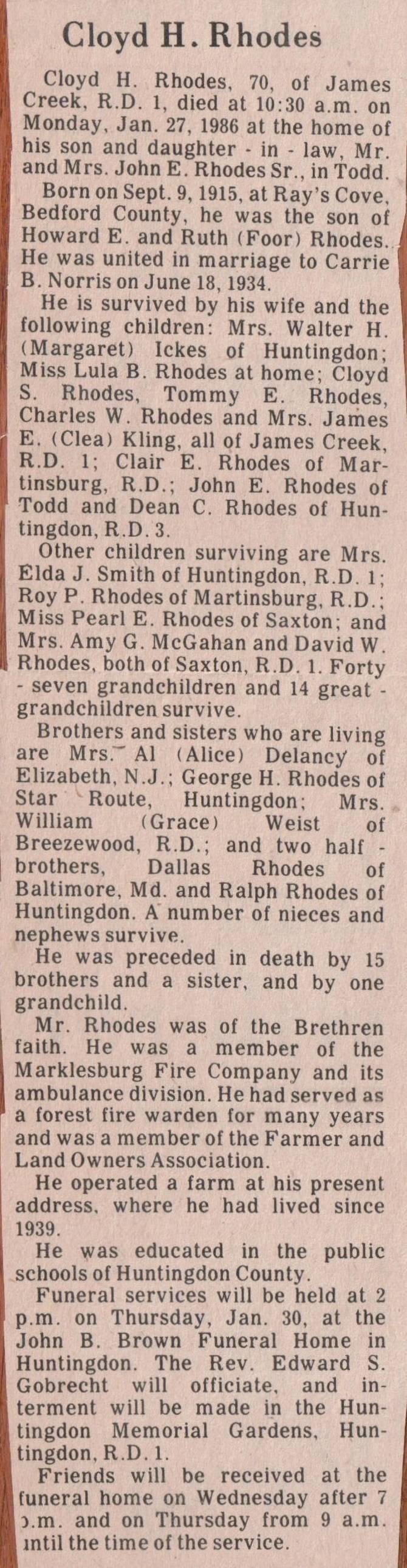 Rhodes, Cloyd H. 1986