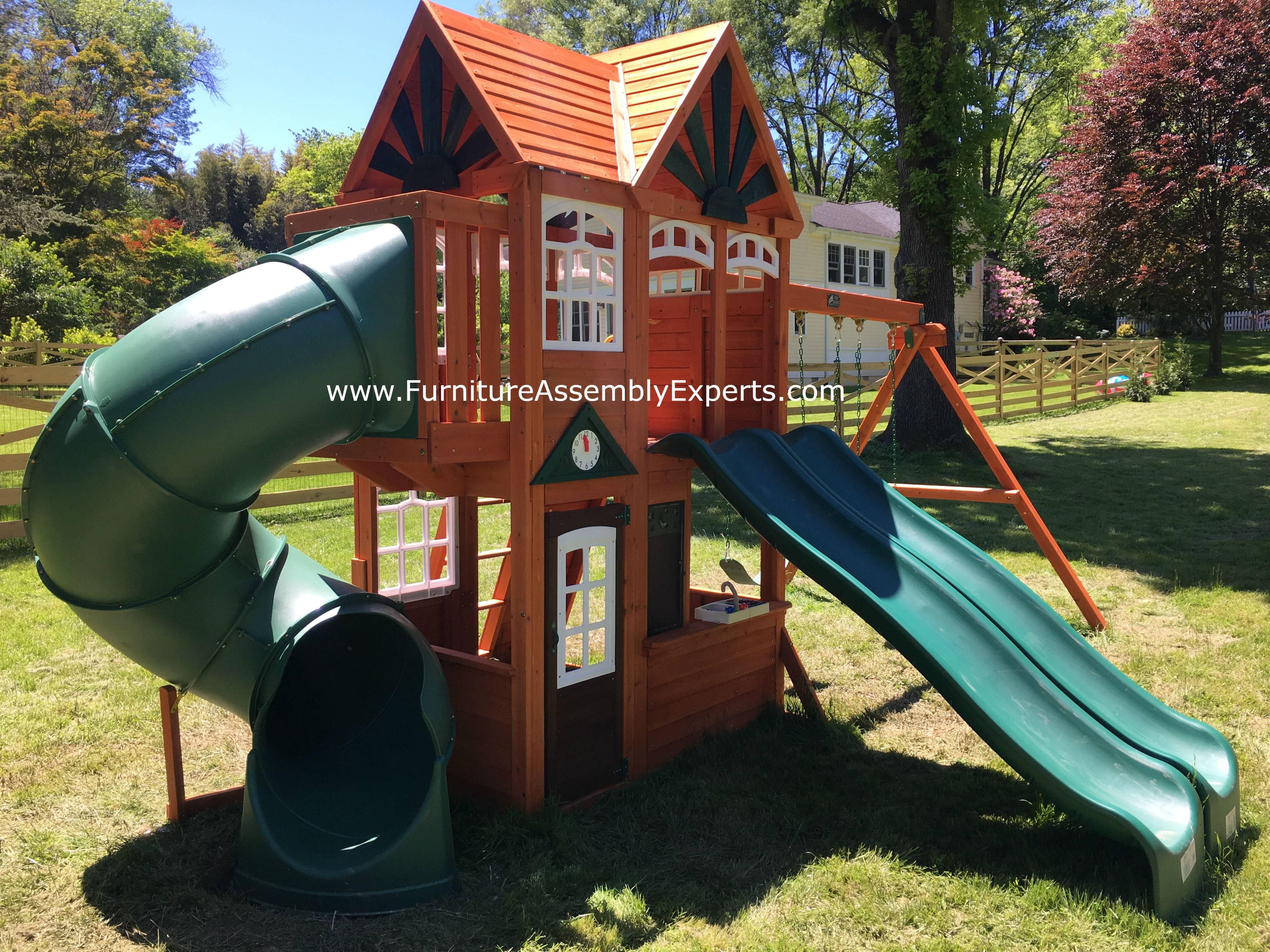 Cedar Summit Valleyview Deluxe Playset installation in falls church virginia