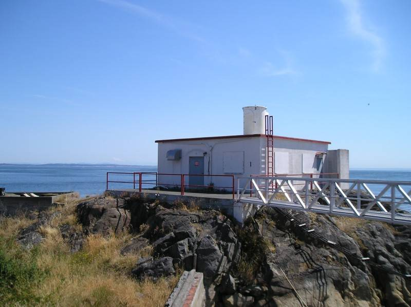 Discovery Island lighthouse's old foghorn building.