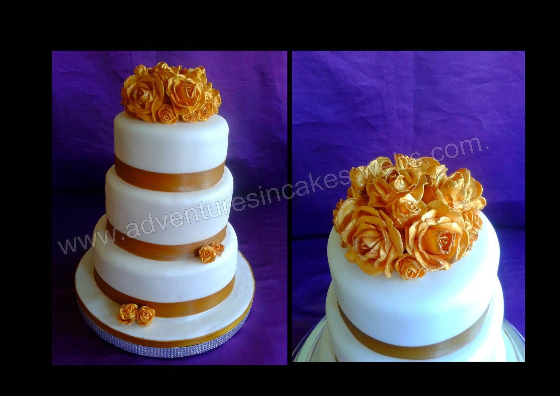 3 tier wedding cake with Gold Roses