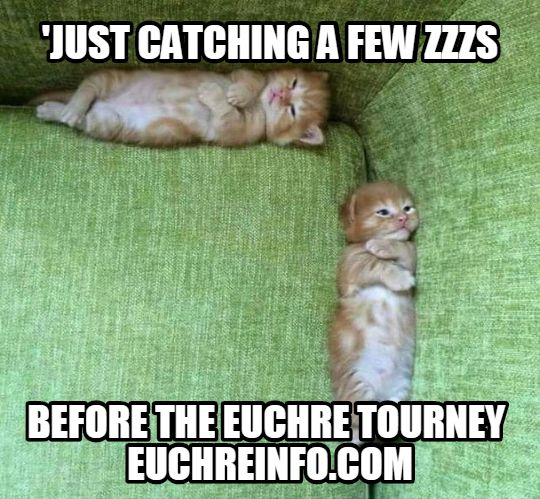 'Just catching a few zzzs before the Euchre tourney.