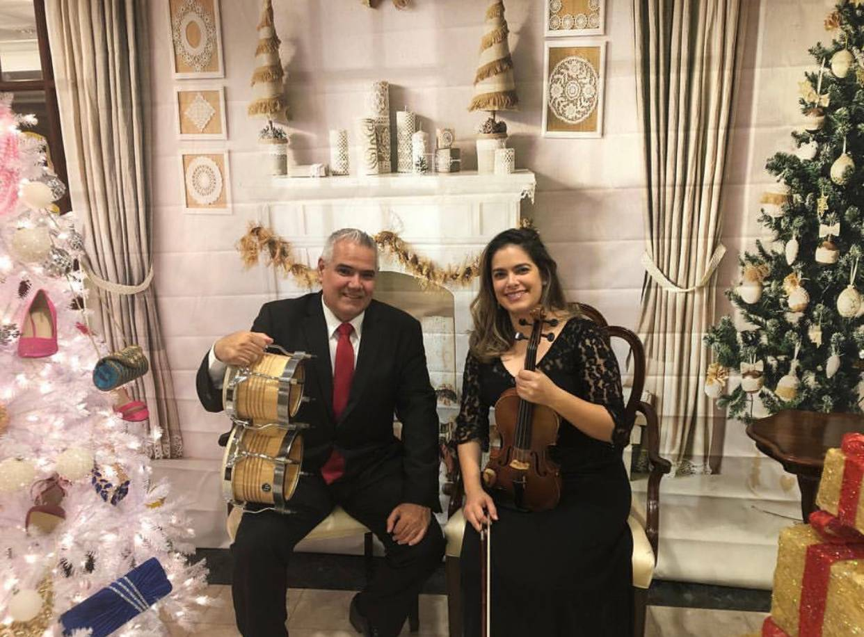Violin and Bongos with background music