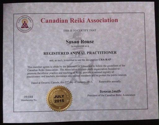 Registered Animal Reiki Practitioner Canadian Reiki Association