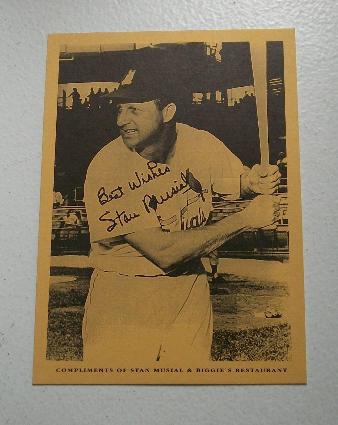 RARE Stan Musial & Biggies Restaurant Card MINT