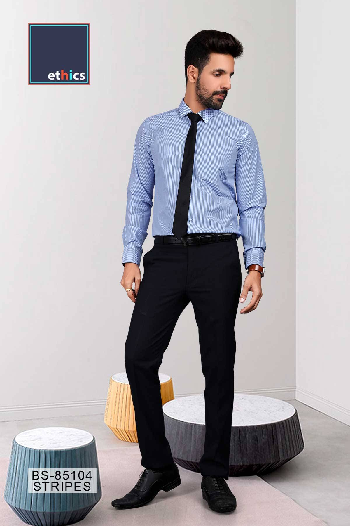 Blue Stripes Uniform Shirts Formal Workwear for Corporate Office BS-85104