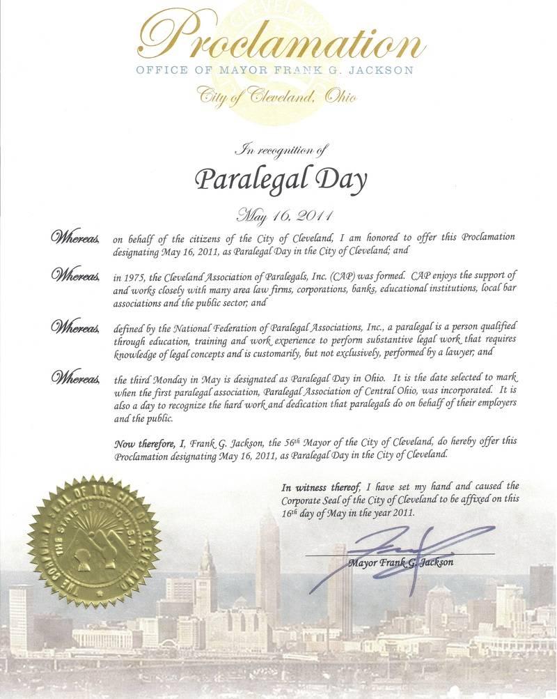Mayor Frank G. Jackson Proclamation - Paralegal Day - May 16, 2011