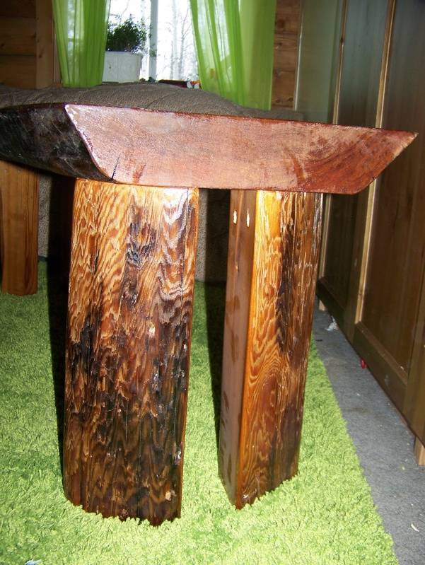 split cedar legs to the coffee-table