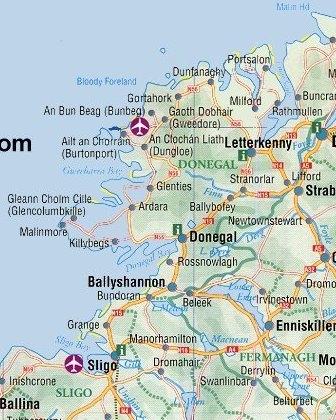 Irish-English tTown Signs Map