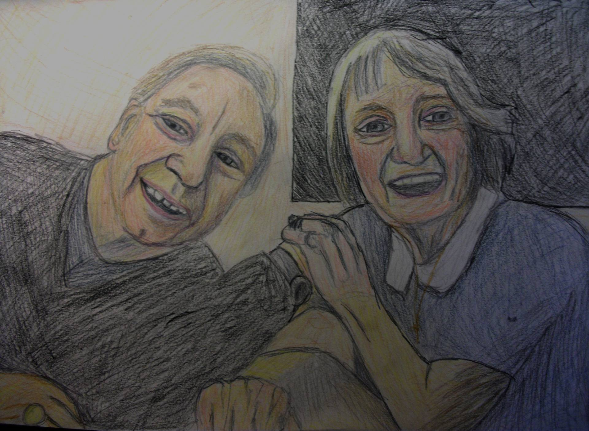 My Grandparents coloured pencil drawing