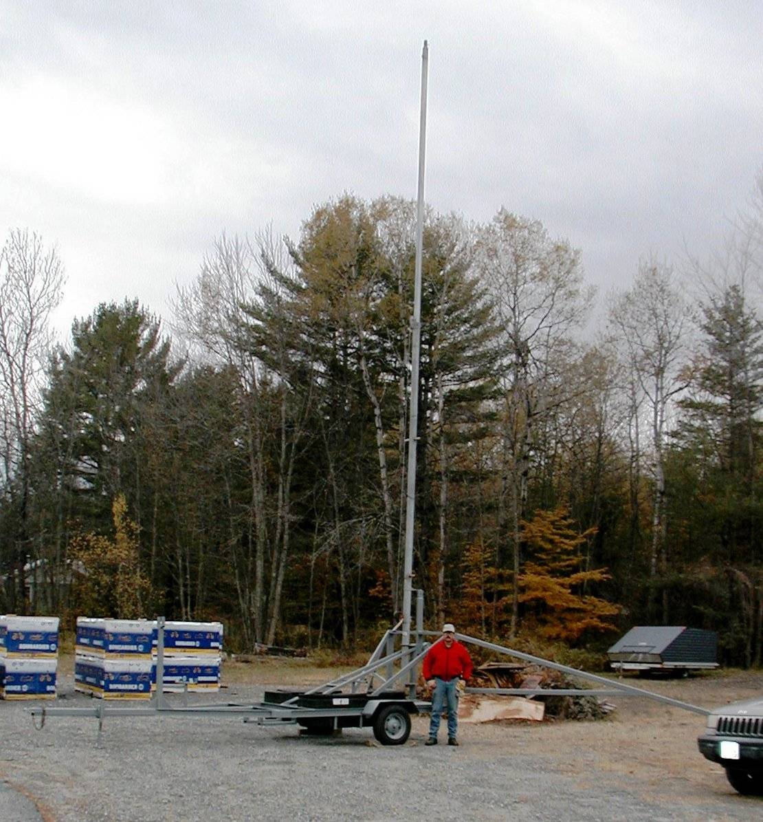 The old tower trailer - fully erect
