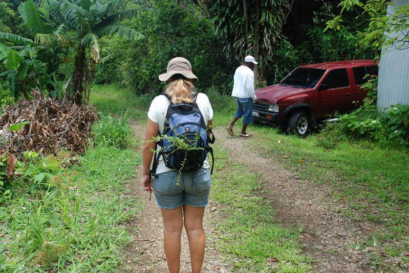 Ann carrying all the herbs and spices we collected
