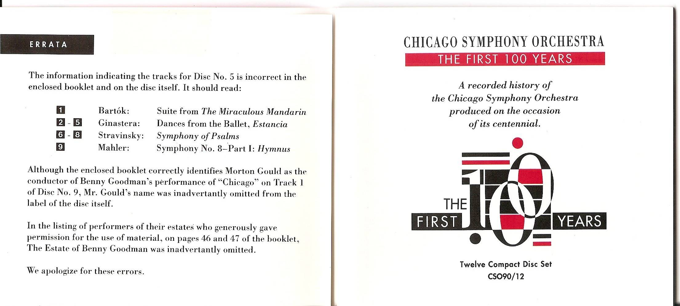 Chicago Symphony Orchestra - From The Archives: The First 100 Years, 12-CD set (1991) (page 3 of  7)
