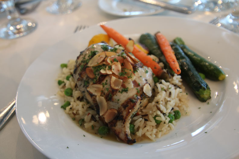 Entree - chicken, rice pilaf with streamed vegetables
