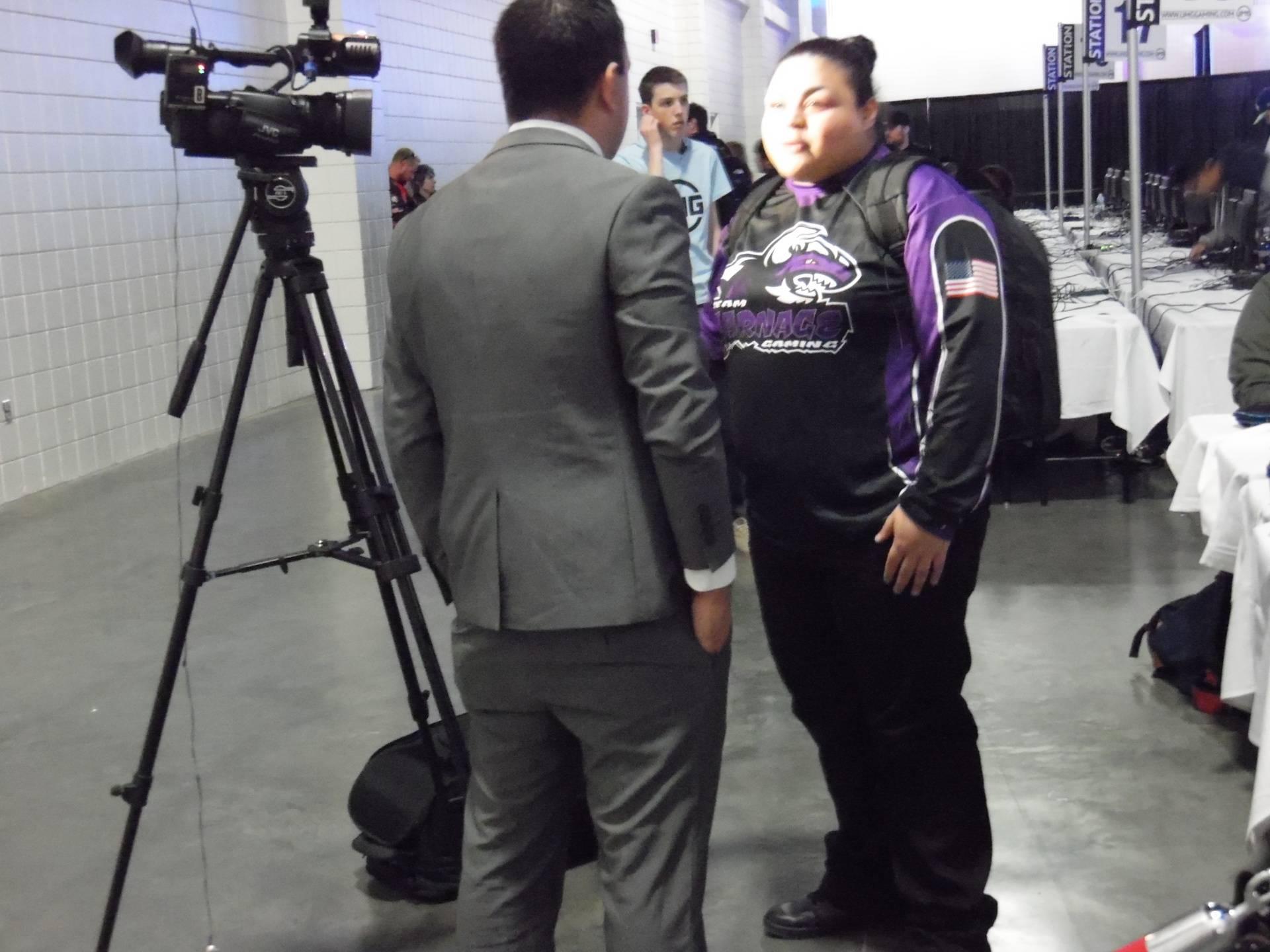 Tashaa being interviewed by local news