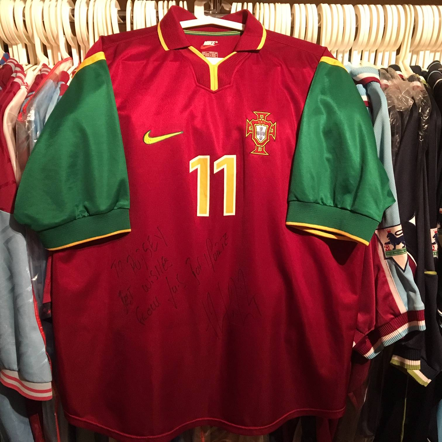 Luis Boa Morte match worn, and personally signed Portugal shirt.