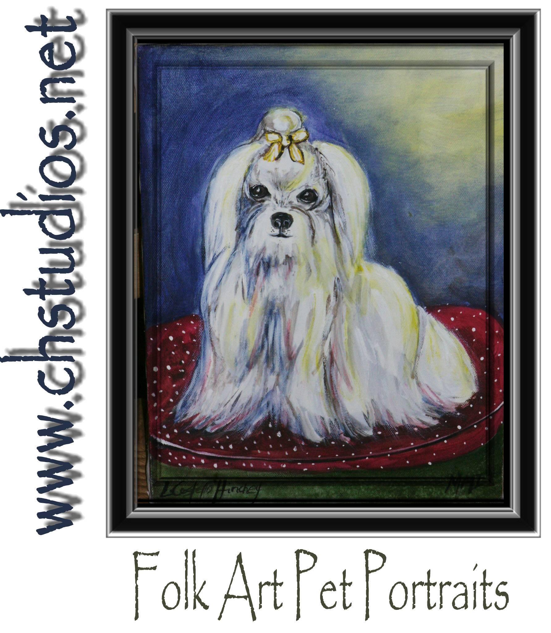 Folk Art Maltese on Pillow Commission Portrait