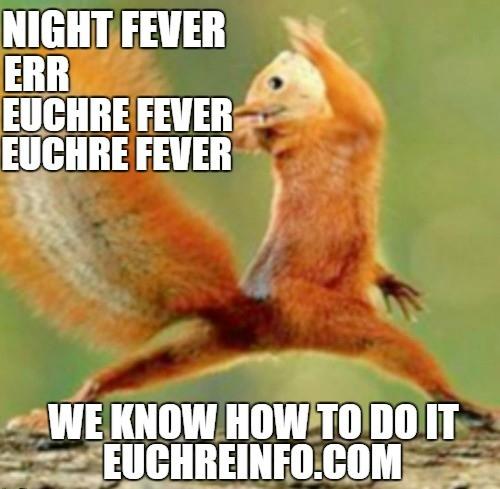 Night fever err Euchre fever Euchre fever... we know how to do it.