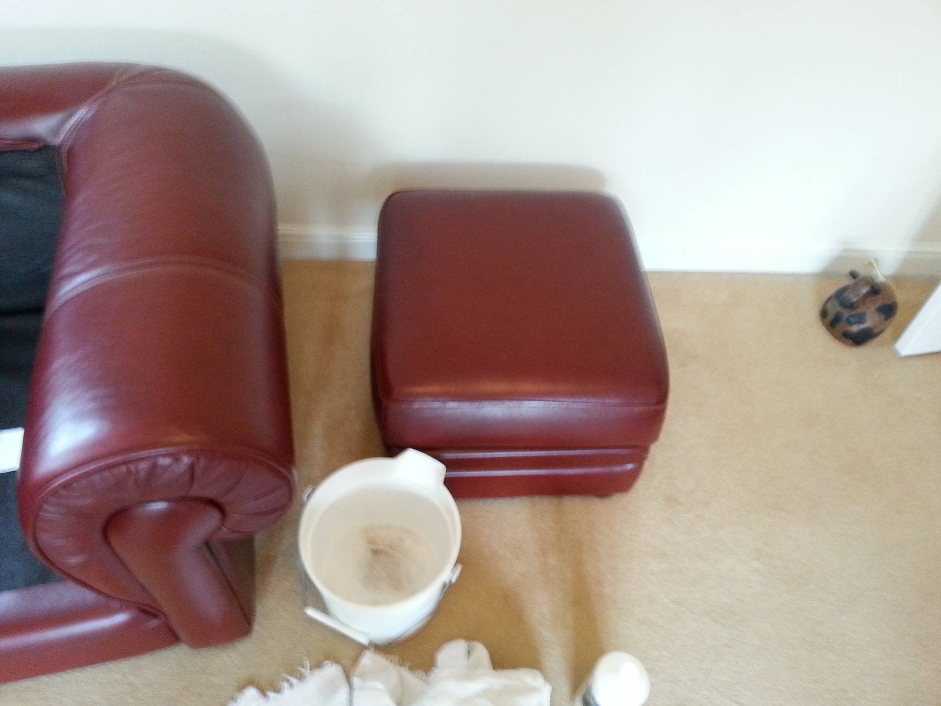 Leather Chair & Footstool