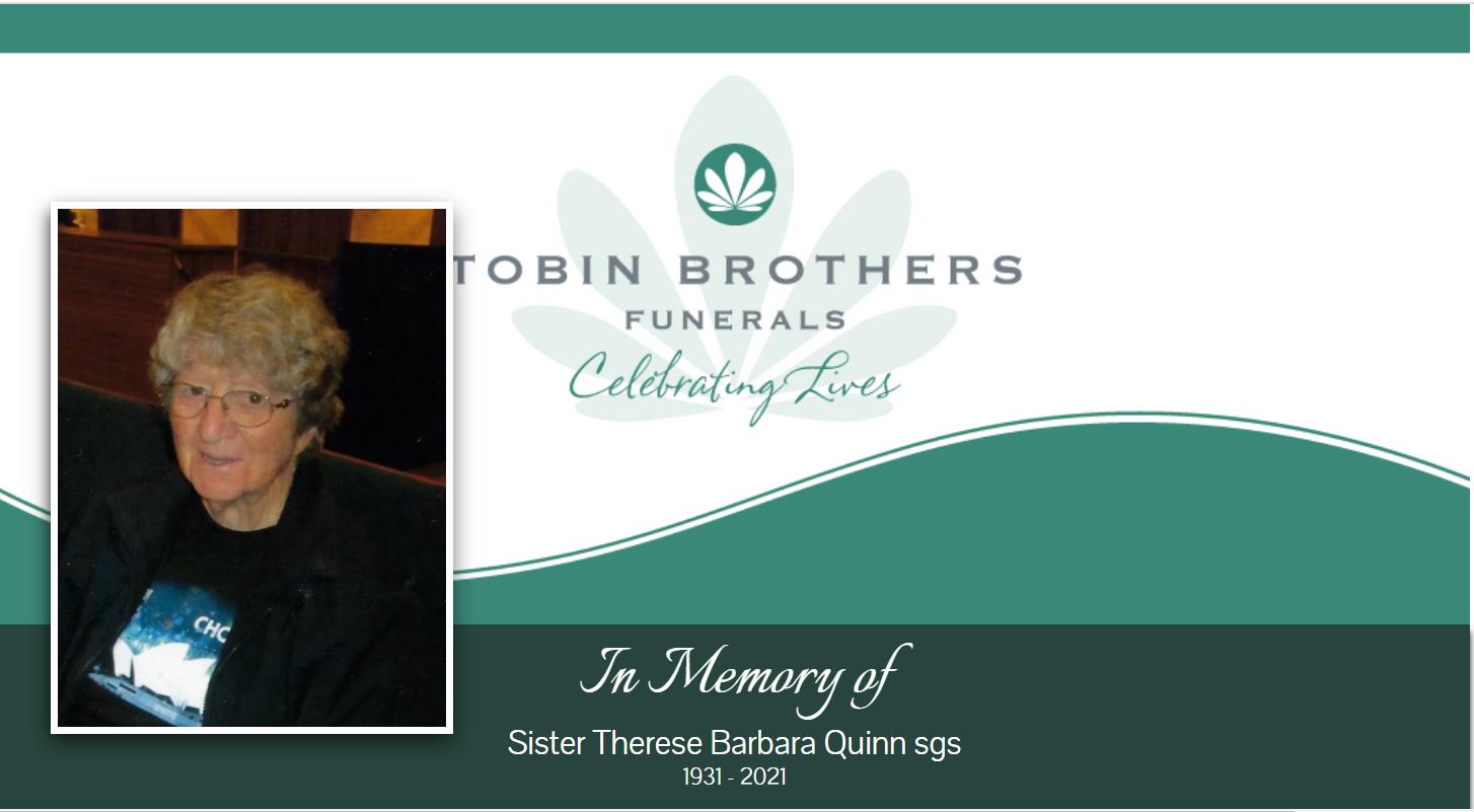 Sister Therese Quinn sgs (Sisters of the Good Samaritan)