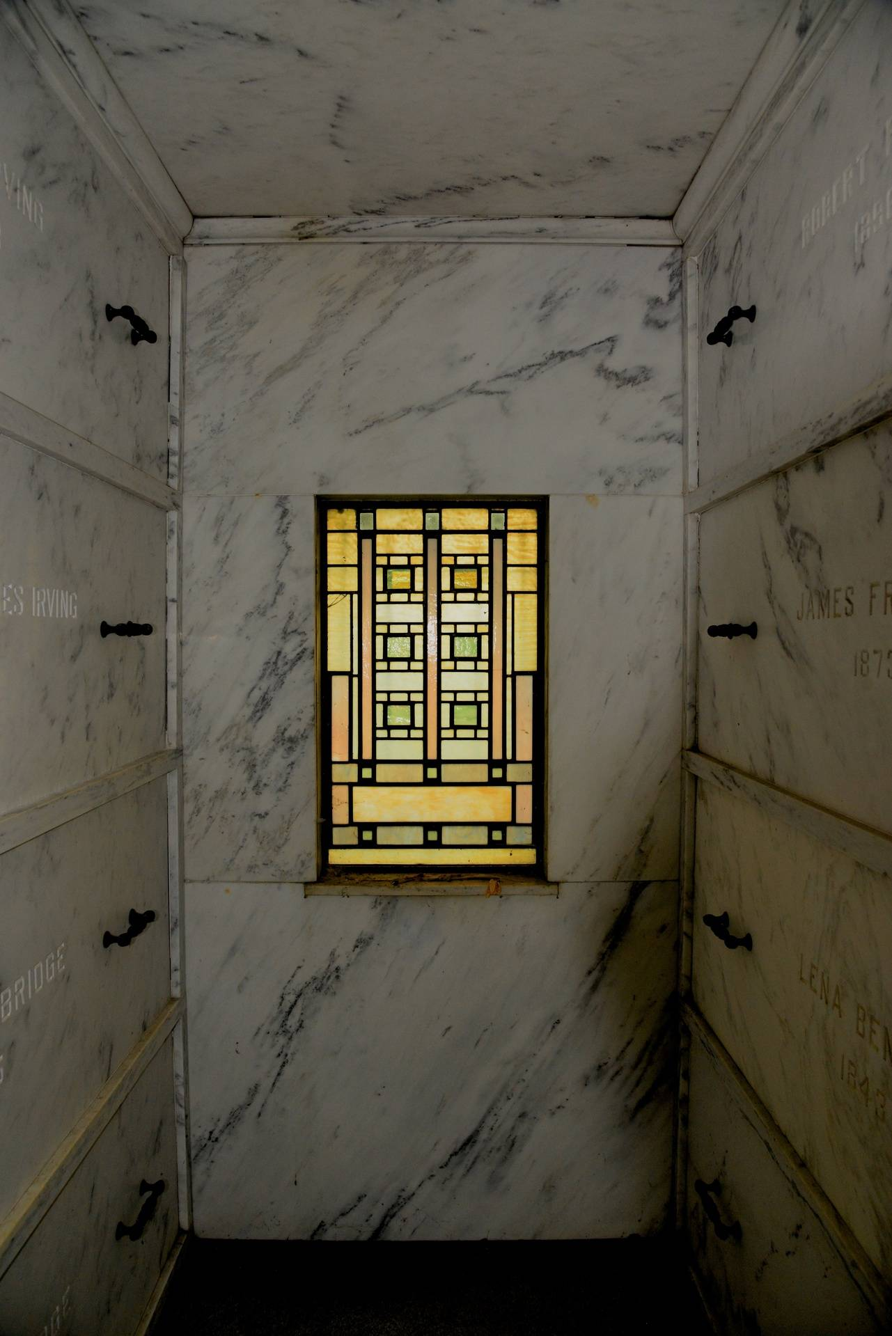 Art Glass and marble inside mausoleum
